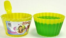 Kids Plastic Ice Cream Bowls Spoons Set of 4 Durable Cup Magic Color Change