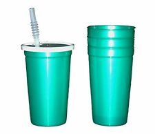 12 - Large 20 oz. Pearl Teal Plastic Drinking Glasses Lids Straws Mfg USA