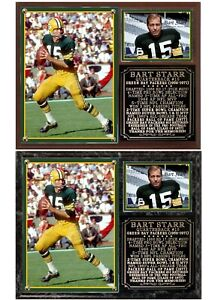 Bart Starr #15 Green Bay Packers Photo Card Plaque