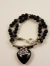 Sterling Silver 925 Black Bead Heart  Pendant Necklace