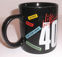 LIFE BEGINS AT 40 Ceramic Coffee Mug Black with Ironic Graphics Vintage by Russ