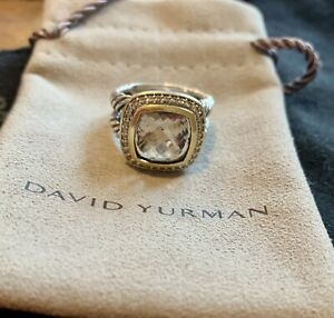 David Yurman Albion 11mm Smoky Quartz Pave Diamond Silver 18k Gold Ring Size 7