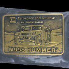 Vtg Hummer Hmmwv M998 H1 Military Aerospace Defense General Brass Belt Buckle