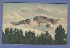 Vintage PC: Pikes Peak Among the Clouds 1943 Pueblo CO Postmark Linen card