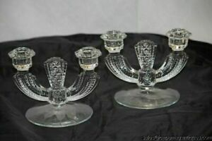 Glass Candlesticks Pair Vintage Candelabra Holders Etched Orchids Flowers