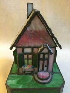 """Stained Glass Lighted Pink Chic Cottage House Handmade 7""""H x 4 1/2""""W"""