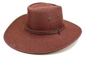 Mens Summer Bucket Cap Cowboy Fedora Hat Wide Brim Linen Mesh Fishing Beach Sun