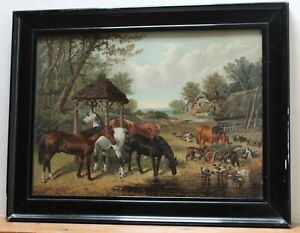 THE OLD FARM - Antique Pears Print in Original Frame