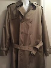 42 Long OLEG CASSINI Trench Coat ThermoLite Insulated Removable Liner Wash  J18