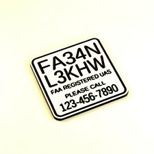 FAA UAS Drone Registration Number Tag w/phone number, engraved, white, 32 x 32mm
