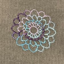 Gray Corduroy Fabric Embroidered Blue Pink Purple Flowers 1 Yard By 58� Wide