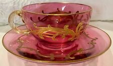 MOSER CRANBERRY CUP SAUCER 1920's Gold Rimmed CRYSTAL BEAUTIFUL!!!