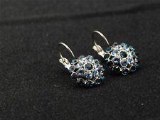 Boucles d'Oreilles Dormeuse Argenté Floral Bleu Metal Retro Class DD10