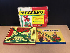 OLD VINTAGE MECCANO BOXED SET OUTFIT N0 1 WITH ORIGINAL INSTRUCTIONS