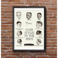 Hair Styles in the 1950's Poster - Crew Cut Flattop Butch Forward Booggie Etc