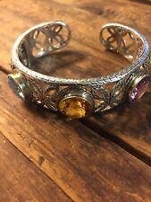 Chuck Clemency NYCII Sterling silver 14k Gold Gemstone Bangle cuff bracelet