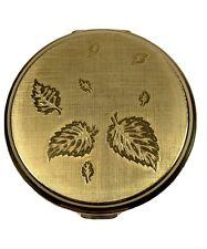 New listing Vintage 1950s Stratton England Powder Compact Gold Tone Leaf Design Pat.764160