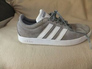 ADIDAS VL COURT GREY SUEDE TRAINERS SIZE 9 UK 43.5 EURO A26