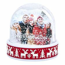 More details for christmas reindeer photo snowglobe decoration ornament frame glitter snowflakes