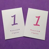 Personalised Free standing Wedding table numbers/name  - any colour