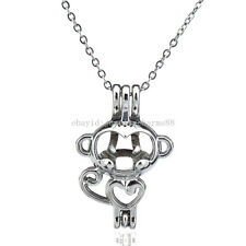 Kid Child Necklace - Heart Monkey Diffuser Locket Pendant Bead Pearl Cage -K70