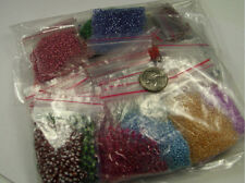 (40 - 44) 10 GRAM PACKETS ASSORTED COLORS AND SIZES GLASS SEED BEADS LOT (NZ-555