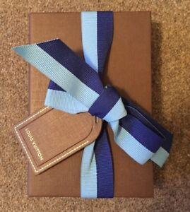 """EMPTY GIFT BOX - Louis Vuitton - Brown - Blue Ribbon - 5 7/16"""" x 3 5/8"""" x 1 1/8"""""""