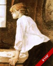 YOUNG WOMAN GIRL LAUNDRESS DOING LAUNDRY WASH CLOTHES PAINTING ART CANVAS PRINT