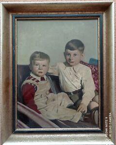 Kinder- Jungen Portrait Gemälde unleserlich signiert gemalt 1955 47 x 37 cm
