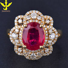 Genuine 14k Solid Yellow Gold Blood Ruby Natural Diamond Engagement Ring