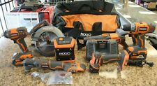 Ridgid 7 Piece Combo Tool Kit With 2 Batteries 18V With And Charger In Bag