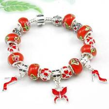 Silver Red Enamel and Glass Bead & Crystal  Butterfly Charm BRACELET #CH05