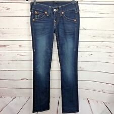 True Religion 25 Skinny Jeans Dark Wash Stitch Flap Pocket Cotton Stretch Denim