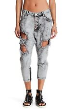NWoT One Teaspoon Kingpins in Harley Gray Acid Wash Destroyed Ankle Zip Jeans 28