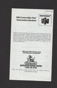 N64 Controller Pak NUS-A-PA-USA Manual INSERT ONLY Authentic