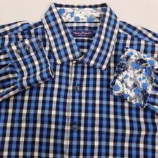 Marco Brunelli Button Up Shirt Men's Size XL Extra Large Blue White Plaid Checks