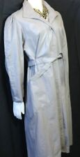 Vintage 1980's Grey Leather Trench Coat Double Belted W Balloon Sleeves Sz 12-14