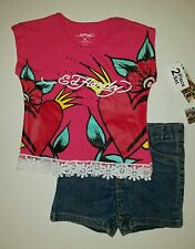 Ed Hardy Girls 2 Pc Set Shirt & Jean Shorts Outfit Size 2T
