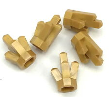 Lego 5 New Pearl Gold Rock 1 x 1 Crystal 5 Point Gems Jewels Pieces