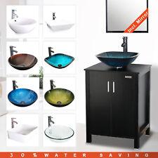 "24"" Bathroom Vanity Set W/ Vessel Sink Faucet Drain Mirror Cabinet Combo Black"