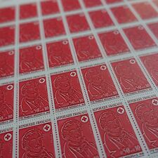 FEUILLE SHEET TIMBRE CROIX ROUGE RED CROSS N°1736 x50 1972 NEUF ** LUXE MNH