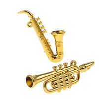 2pieces Musical Instruments 1/12 Doll House Miniature Curved Pipe Saxophone