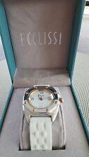 Ecclissi Sterling Silver Rosetone Hexagonal 2-Tone Unisex Watch Silicone Strap