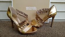 MICHAEL KORS WOMENS LEATHER GOLD METALLIC BELA PLATFORM PUMP 7 1/2 NEW IN BOX
