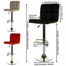 Set of 2 Bar Stool Faux Leather PU Soft Padded Seat Foot Rest Swivel Hydraulic