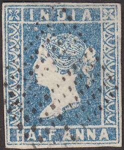 India 1854 QV ½a Pale Blue Die I Used SG3 cat £60 w 4 margins diamond dot pmk