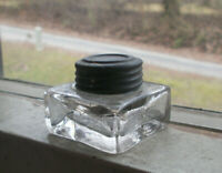 CIVIL WAR ERA HAND BLOWN GLASS INKWELL WITH ORIGINAL PEWTER THREADED LID