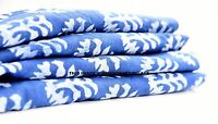 2.5 Yard Indigo Blue Indian Hand Block Print Cotton Fabric Running Voile Fabric