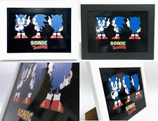 "Framed  SONIC THE HEDGEHOG  print on Aluminium A4 13x10"" inc Frame Sega Wall Art"
