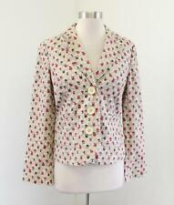 Boden Womens Beige Red Floral Print Linen Blazer Jacket Size UK 8 US 4